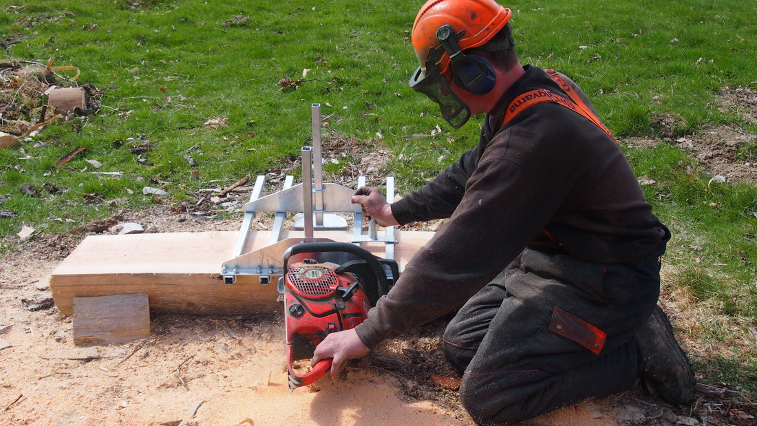 Chainsaw Sawmill planking timber. Designed and made in Britain